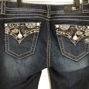 Miss Me Signature Boot Paisley Bling Pocket Jeans